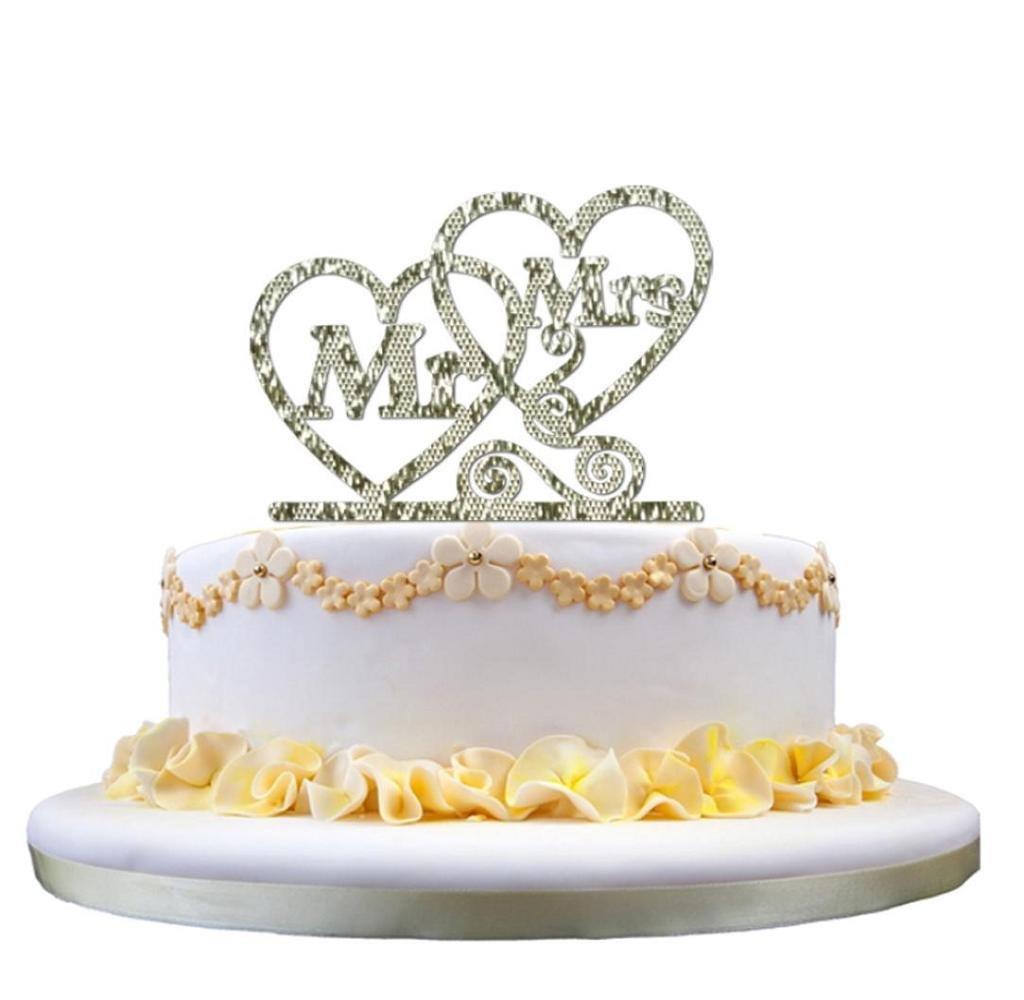 Singleluci Wedding Cake Topper Mr Heart Mrs Cake Decoration Silver