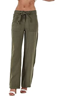 f730ed25307b3 Ex Famous Store Ladies Linen Trousers Belt Holiday Womens Pants Elasticated  Summer Casual Pants