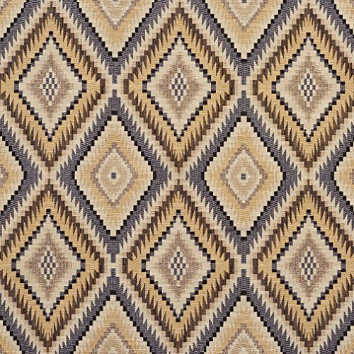 (E725 Slate, Gold and Beige Woven Southwestern Diamonds Upholstery Fabric by The Yard)