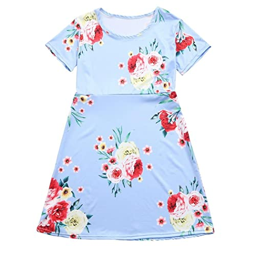 Mother Daughter Family Matching Floral Dress Mom Girl Sundress Spoon Neck Dress Family Clothes 2t