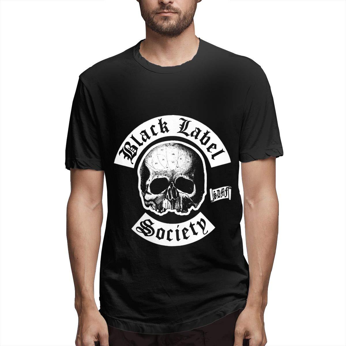 Lihehen Mans Black Label Society Logo Simple Casual Round Neck Shirts