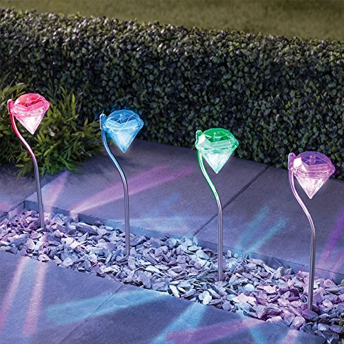 TelPal 4pcs Stainless Steel Outdoor Waterproof Solar Motion Led Light - 7 Color Changing Solar Powered Home Pathway Lights Outdoor, Decorative LED Garden Solar Lawn Lights Stakes For Christmas (Solar Powered Stainless Steel Acrylic)