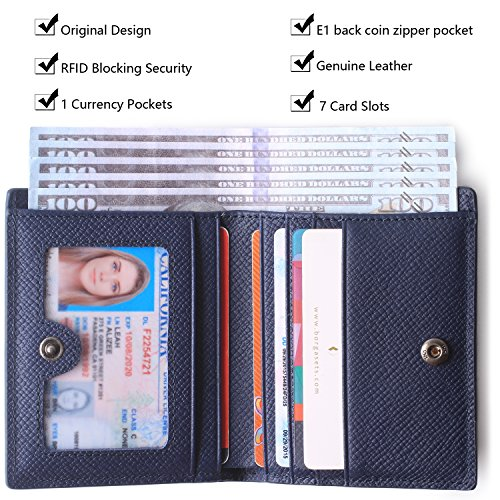 Borgasets Women's RFID Blocking Small Compact Bifold Leather Pocket Wallet Ladies Mini Purse with id Window Blue by Borgasets (Image #2)