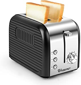 ALES 2 Slice toaster, Extra-Wide Slot Toaster with Reheat/Defrost/Cancel Function, 6 Shade Settings Compact Toasters for Bread Waffles, Removable Crumb Tray, Silver Black