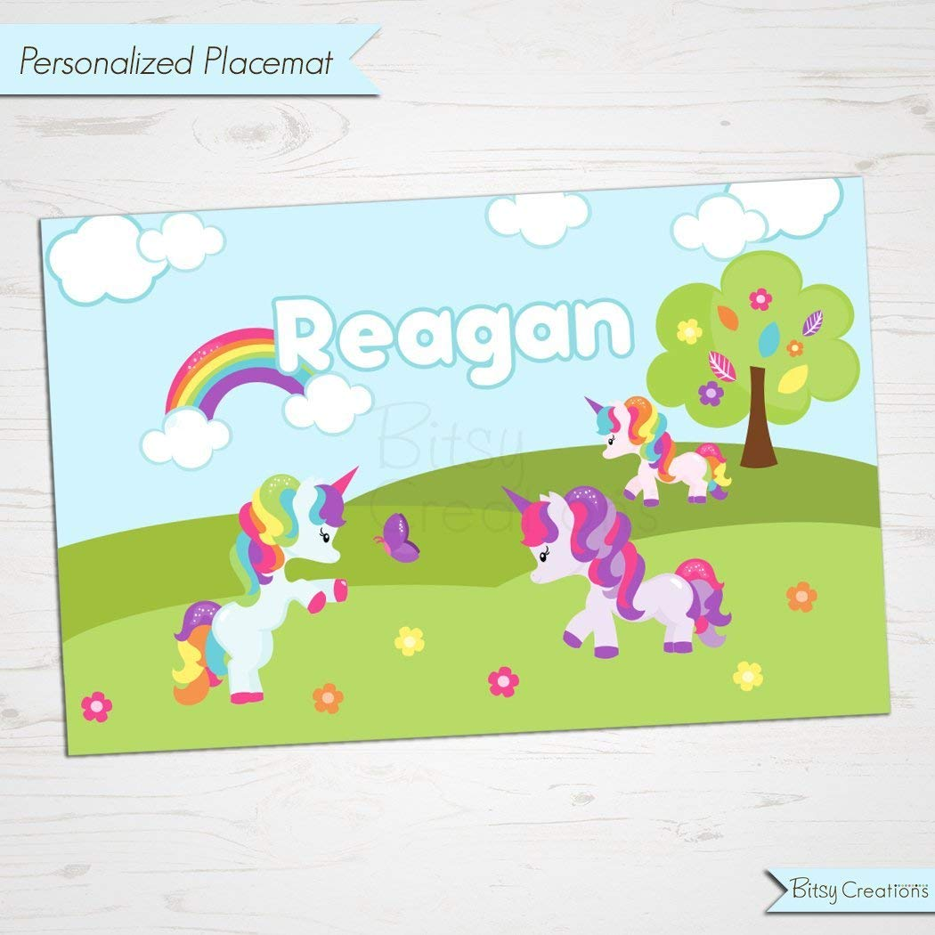 Custom Placemat Unicorn Placemat for Children Personalized with Childs Name