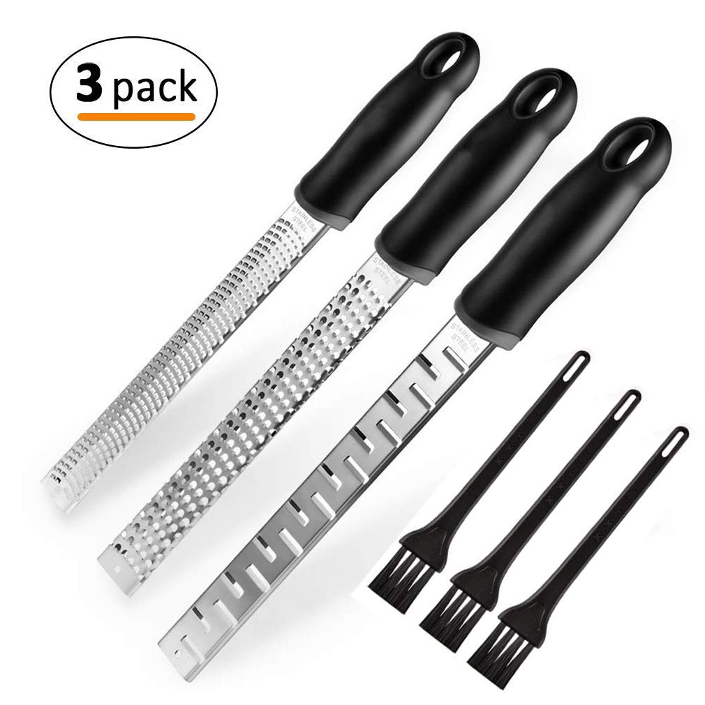 Citrus Lemon Zester & Cheese Grater, 3 Pcs Cheese Grater Zester Tool with Stainless Steel Blade & Cleaning Brush, Kitchen Tool for Chocolate, Garlic, Nutmeg, Ginger, Potato, Coconut, Vegetable & Fruit Vikedi