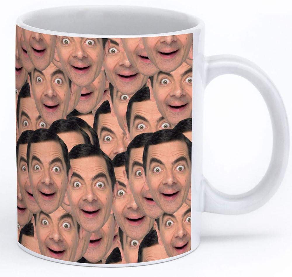 Amazon Com Rowan Atkinson Mug 11oz White Ceramic Coffee Cup With Rowan Atkinson Collage Kitchen Dining