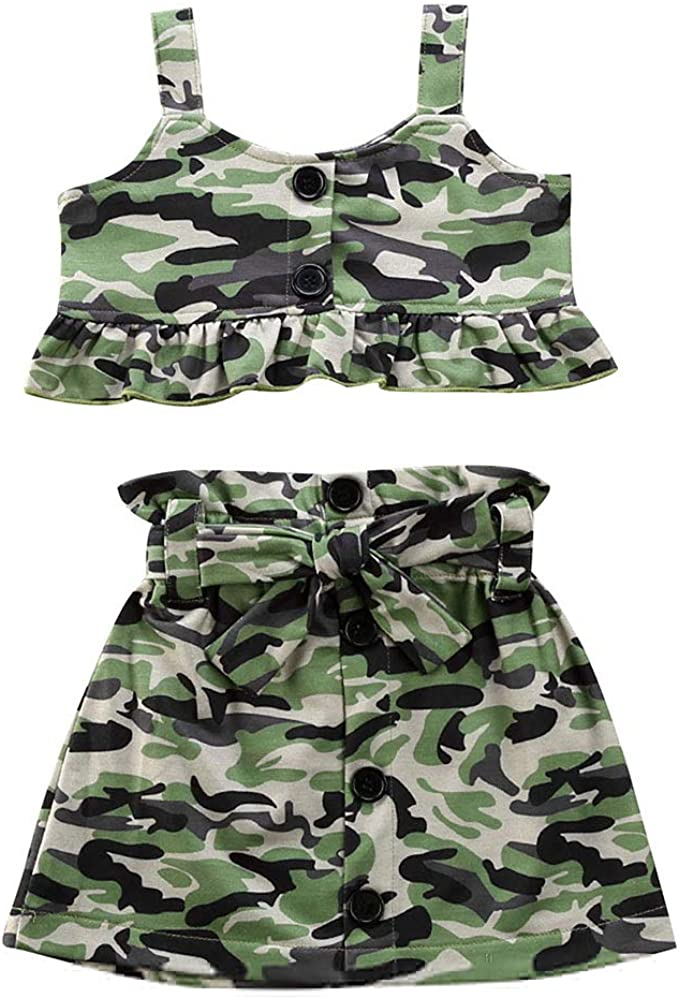 Toddler Kids Baby Girl Camo Outfit Off Shoulder Ribbed T-Shirt Top Camouflage Pants Fall Winter Clothes 2Pcs Set Black Crop Top/&Camo Harem Pants, 1-2T