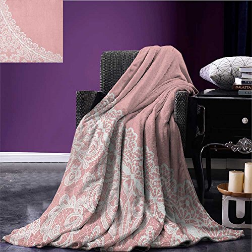 Pink and White survival blanket Lace Old Fashioned Border on Pink Color Wedding Theme Feminine Print space blanket Pale Pink White size:59