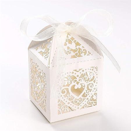 UNHO 25 Piezas Caja Papel para Boda Caja de Regalo para Caramelos Bombones Dulces Galletas Recuerdos Ideal para Boda Cumpleaños Fiesta Comunión Bautizo Color Marfil: Amazon.es: Hogar