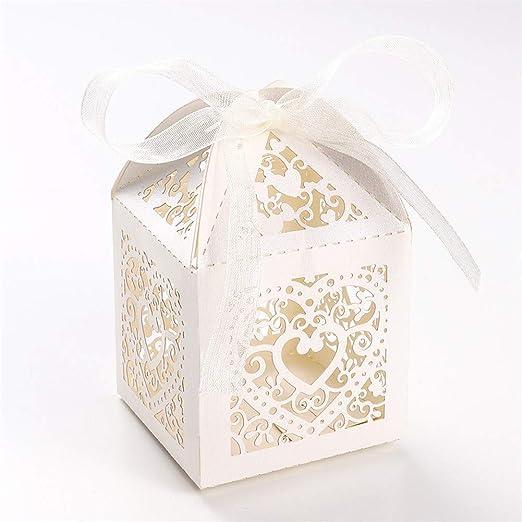 UNHO 25 Piezas Caja Papel para Boda Caja de Regalo para Caramelos Bombones Dulces Galletas Recuerdos Ideal para Boda Cumpleaños Fiesta Comunión ...