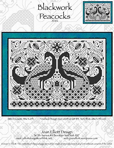 Blackwork Peacocks (JE102) Cross Stitch Chart
