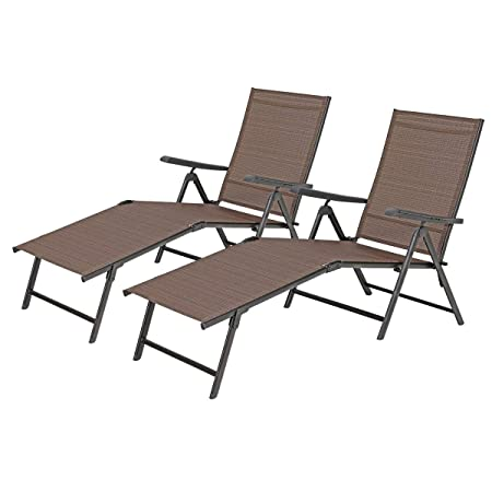 PHI VILLA Outdoor Patio 2 Piece Metal 5 Stages Adjustable Folding Lounge Chair,Beach Yard Pool Recliner Chaise – Brown