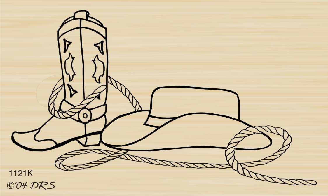 Cowboy Garb Rubber Stamp By DRS Designs