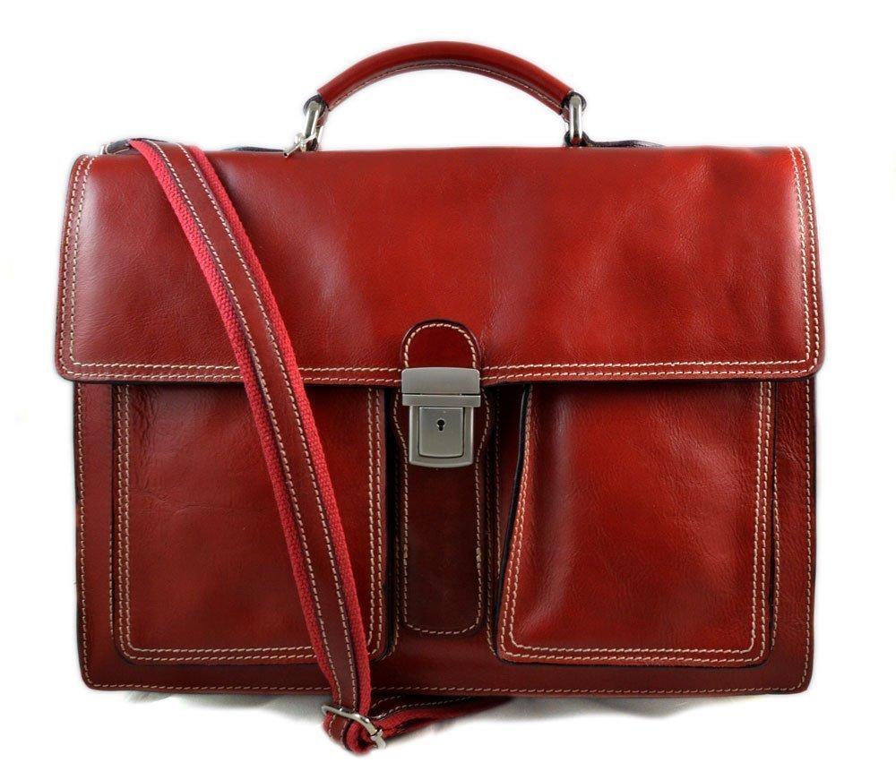 Leather briefcase business bag conference bag satchel office bag shoulder folder shoulder bag men woman executive briefcase red