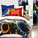 2 Piece Watercolor Like Outerspace Patterned Comforter Set Twin Size, Printed Vibrant Color Splash Milky Way Bright Geometric Rings Bedding, Stylish Modern Design, Classic Kids Bedroom, Black, Yellow