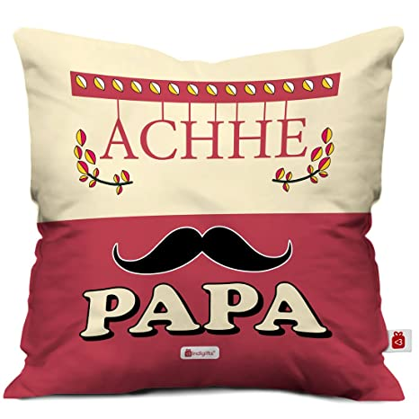 Indigifts Papa Gift Anniversary Achhe Ethnic Cushion Cover 12x12 Inches With Filler Pink