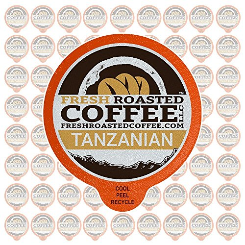 Fresh Roasted Coffee LLC, Tanzanian Peaberry Coffee Pods, Single Origin, Light Roast, Capsules Compatible with 1.0 & 2.0 Single-Serve Brewers, 72 Count
