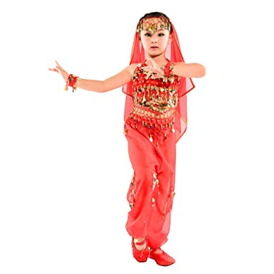 5a704917853e KINDOYO 5 Pcs Girls Indian Belly Dance Costumes Set, Egypt dance Clothes ( Red,
