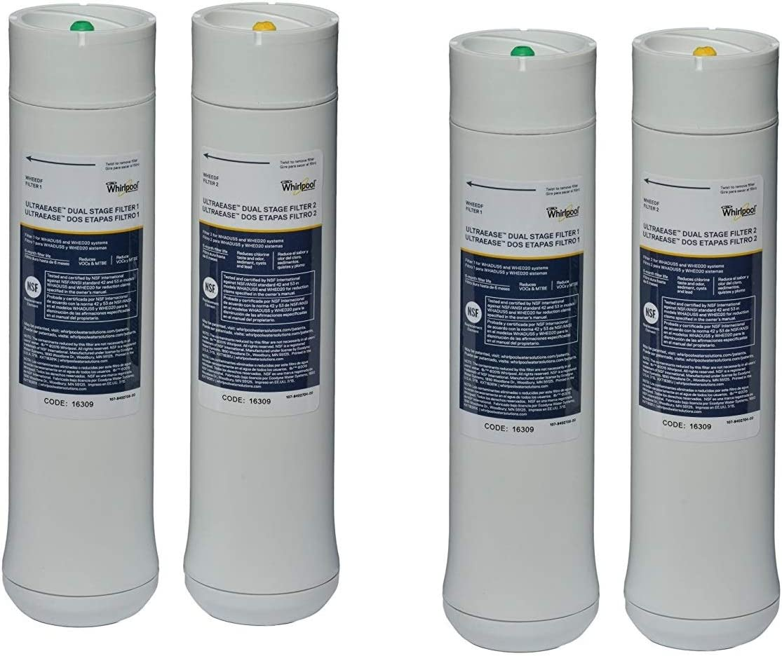 Whirlpool WHEEDF 2 Pack UltraEase Undersink Filtration Replacement Filter WHED20