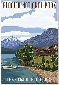 """Lake McDonald Lodge Glacier National Park Travel Vintage Art Refrigerator Magnet Size 2.5"""" x 3.5"""""""