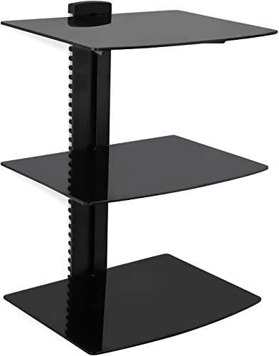 Mount-It Floating Wall Mounted AV Entertainment Shelf for DVD Players, Cable Boxes, Audio, Gaming Systems, 3 Black Tempered Glass Adjustable Shelves