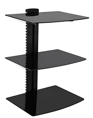 Terrific Mount It Floating Wall Mounted Av Entertainment Shelf For Dvd Players Cable Boxes Audio Gaming Systems 3 Black Tempered Glass Adjustable Shelves Best Image Libraries Sapebelowcountryjoecom