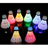 [8 Pack] LED Badminton Set, Shuttlecock Dark Night Glow Birdies Lighting Outdoor Indoor Sport Activities,Colorful