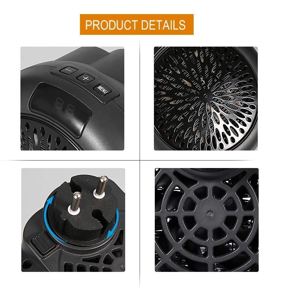 Mini Estufa Eléctrica Calefactor Cerámico de Aire Caliente de Ventilador - Calefactor Portátil Pared con Salida de Pared y Pantalla Digital con Temporizador ...