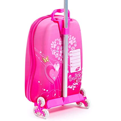 Amazon.com | Girls Hot Pink Cat Suitcase Carry On Pretty Kitty Kitten Rolling Upright Luggage | Carry-Ons
