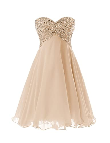 Exlinalesha Chiffon Short Beaded Prom Homecoming Dress ELF174