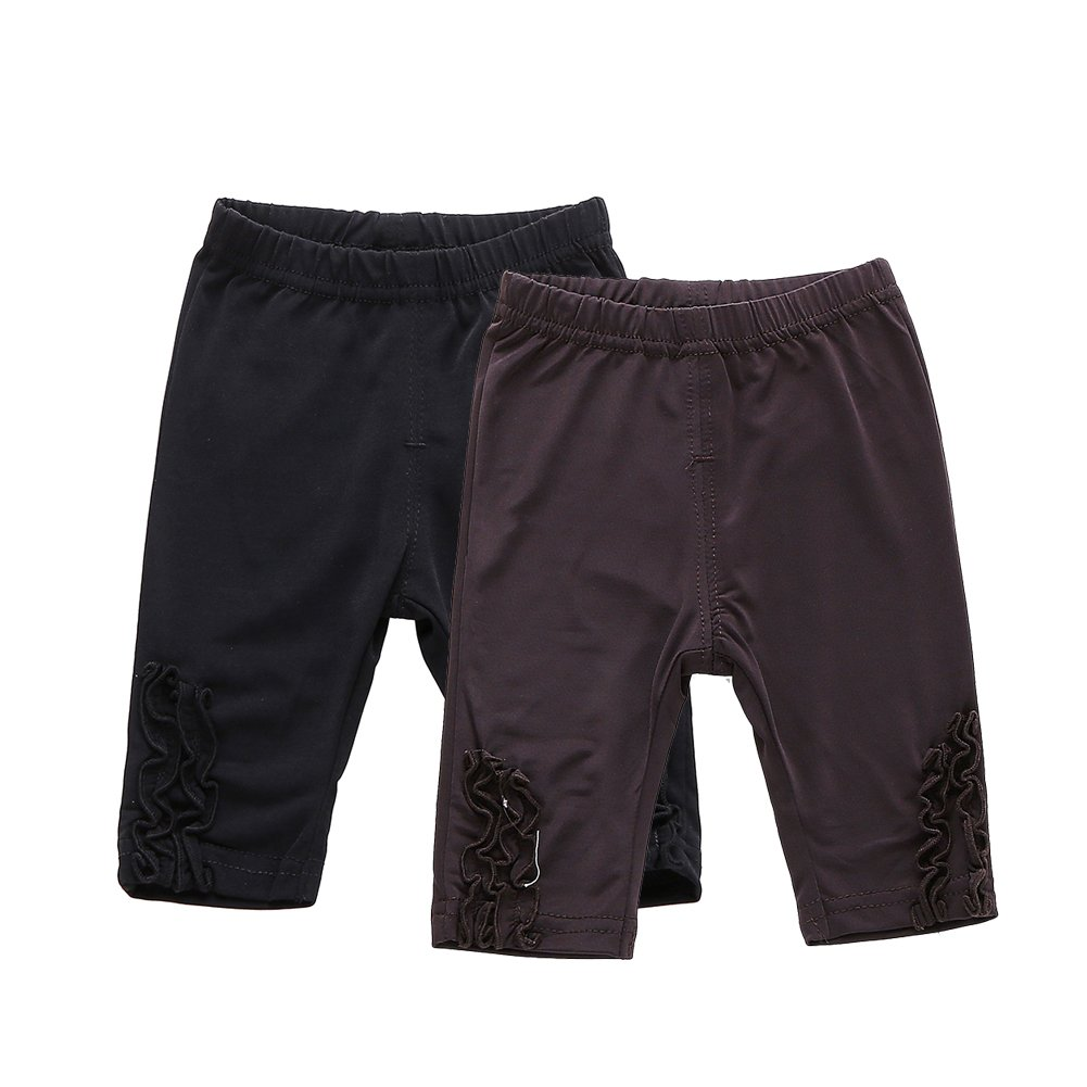Pack of 2 Baby Girls Thin Leggings Knee Length Stretchy Casual Shorts Black + Brown Size 3T