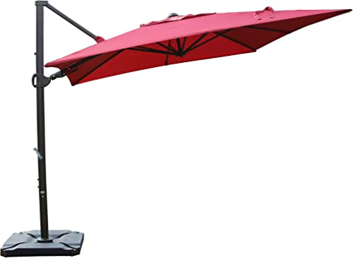 SORARA Offset Cantilever Umbrella 9 x9 Outdoor Patio Umbrella Weight Base not Included , Jockey Red