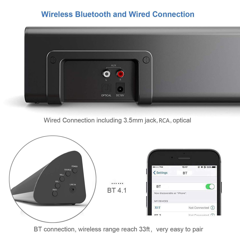 Sound Bars 2.1 Channel Bluetooth Sound Bar Wohome TV Soundbar with ...