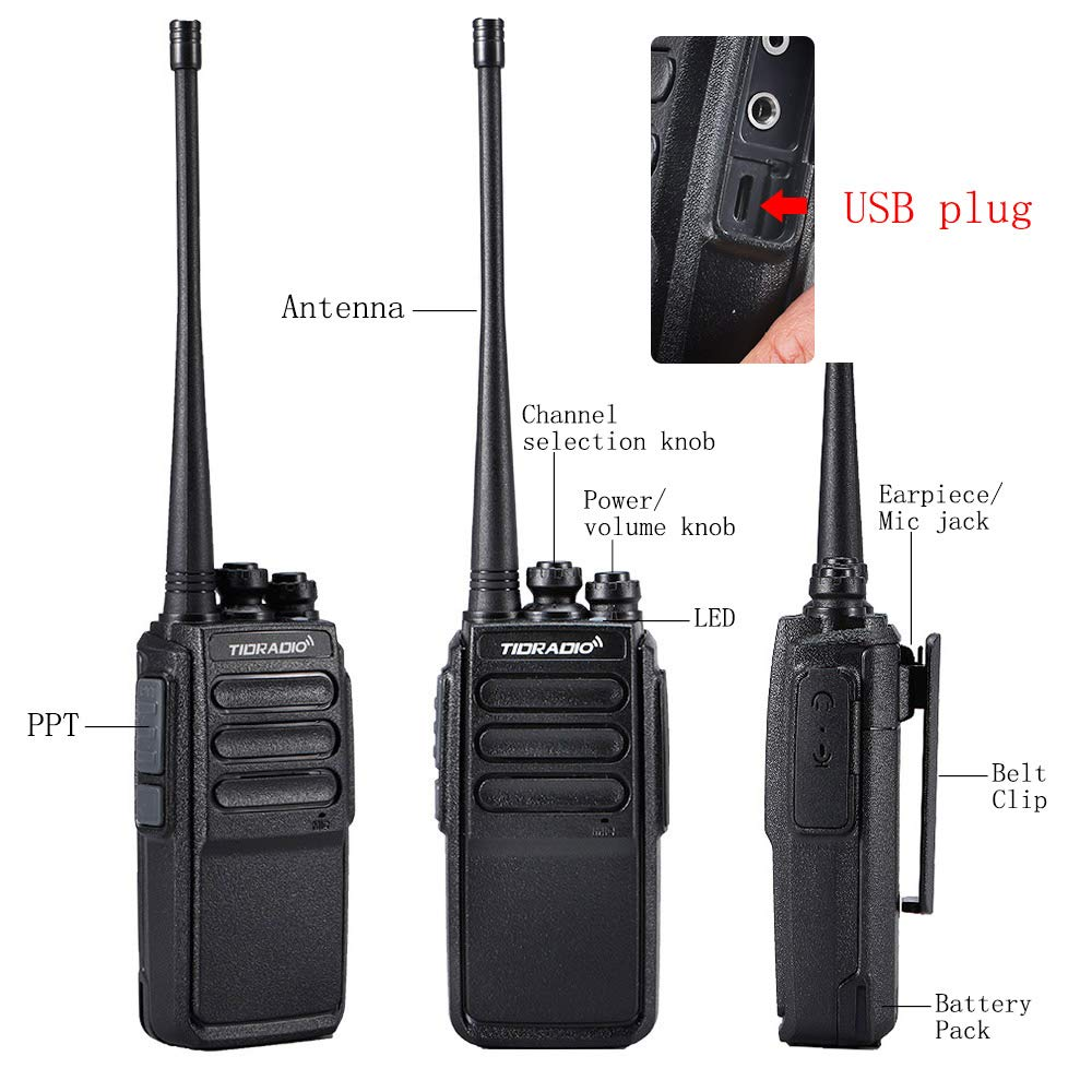 Walkie Talkies Rechargeable 2 Way Radio Micro USB Charge Plug 10 Walkie Talkies for Adults 10pcs by TIDRADIO (Image #2)