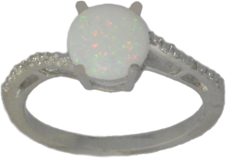 Elizabeth Jewelry Genuine Opal & Diamond Round Ring .925 Sterling Silver Rhodium Finish