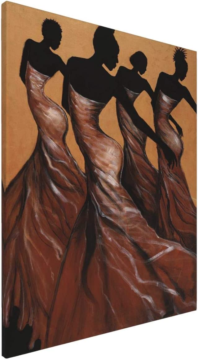 African American Wall Art Black Girl Canvas Wall Art Dector Giclee Printed Pictures Wall Decor - Dance Woman For Living Room Bedroom Framed Ready To Hang 16x20 Inch