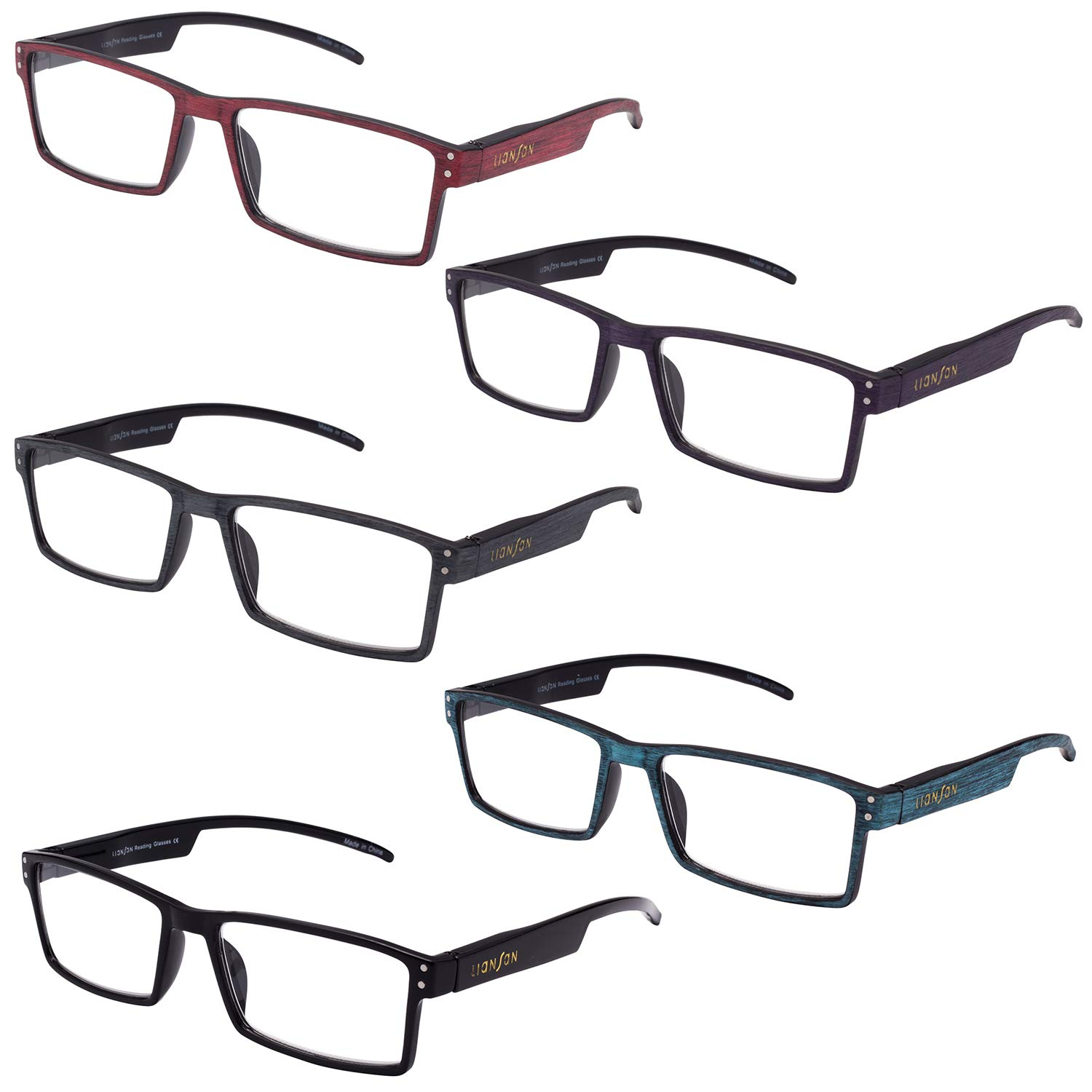 065295fb80e Amazon.com  LianSan Designer Rectangular Plastic Faux Wood Reading Glasses  4 Pack Women Men Oversized Fashion Magnifying Eyeglasses Eye Strain Readers  2.0 ...