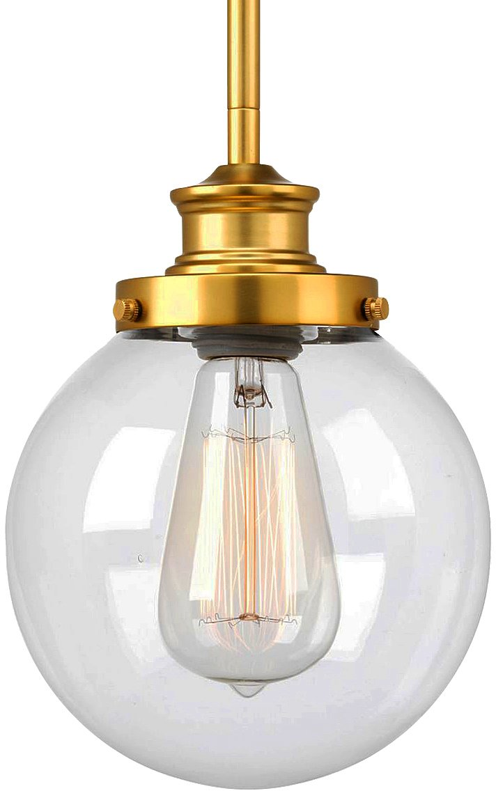 Luxury Vintage Pendant Light, Small Size: 9.5''H x 6.875''W, with Industrial Chic Style Elements, Native Brass Finish and Clear Shade, UHP2641 from The Glasgow Collection by Urban Ambiance