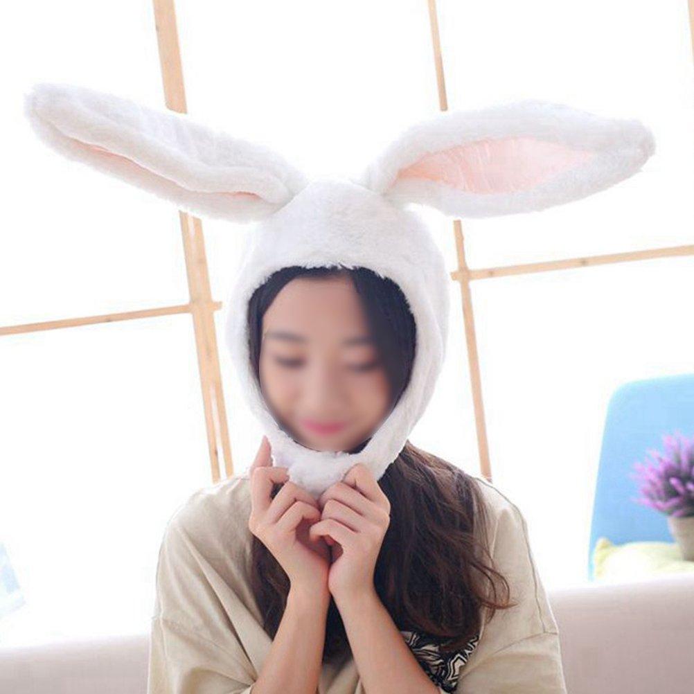 Amosfun Rabbit Headwear Cartoon Animal Hat Movable Ear Plush Cute Hat for Women Girls (White) by Amosfun (Image #4)