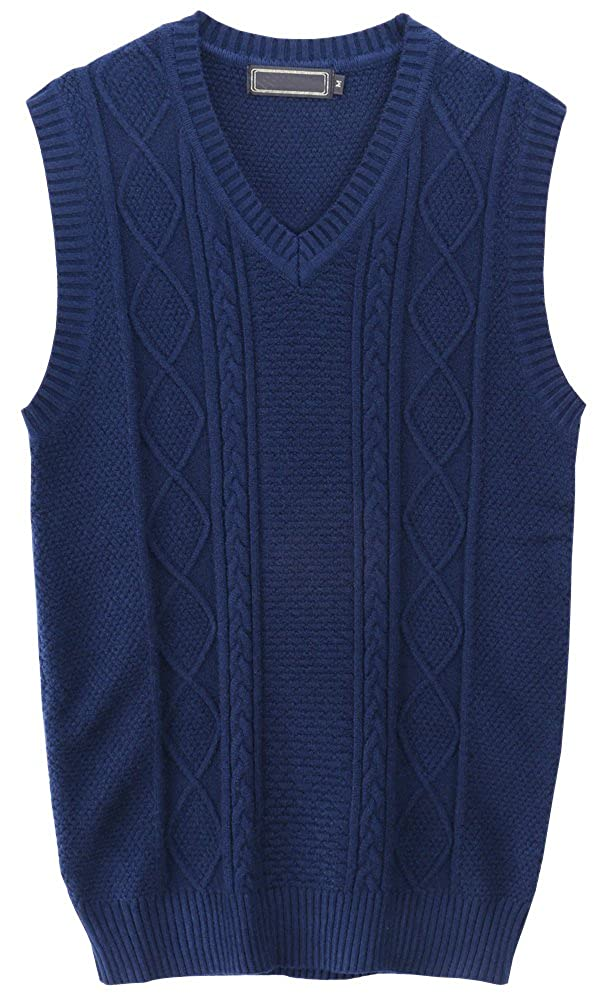 Men's Vintage Vests, Sweater Vests Vocni Mens V-Neck Sweater Knitewear Casual Waistcoat Pullover Vest  AT vintagedancer.com