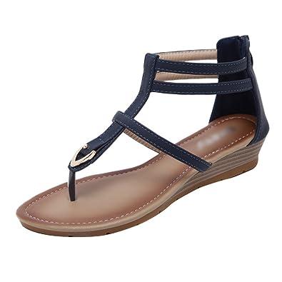 YOUJIAA Damen Boho Roman Sandalen Clip Toe Schnalle Keilabsatz Sandalen Metall Verziert Ankle-Wrap Flip Flops...