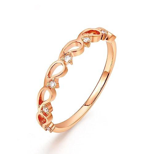 AmDxD Joyería Mujer 18k Oro Anillos de Mano Derecha Hueco Óvalo Redondo Diamante Oro Rosa Anillo