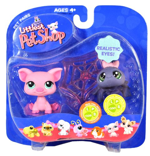 Hasbro Year 2007 Littlest Pet Shop Pet Pairs Series Bobble Head Figure Set - Real Feel Pets #329 Pink Pig and Totally Talented Pets #330 Grey Spider with Realistic Eyes and Cobweb -