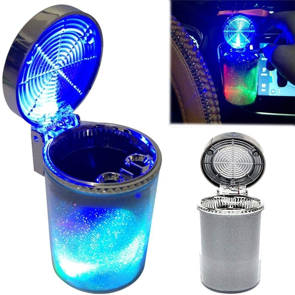 Aschenbecher Auto B/üro Auto Aschenbecher mit Deckel f/ür Auto Haus Schimer Auto Zigarette Auto Aschenbecher Rauchfrei Selbstl/öschend Auto Getr/änkehalter mit Blauer LED-Lichtanzeige