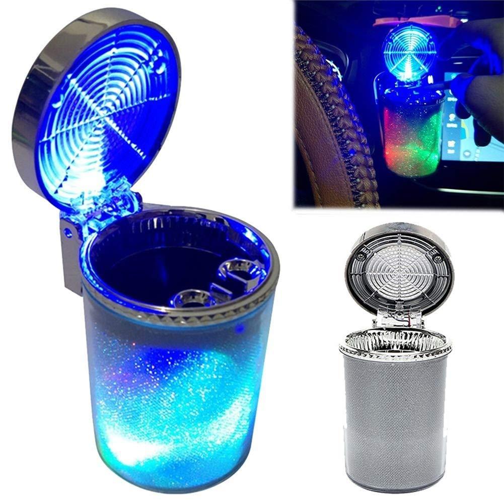 Cenicero para autom/óvil Krampe con luz LED Ventilaci/ón de Aire Cigarrillo Cigarro Bandeja de Ceniza Contenedor Ceniza de Humo Humo Portavasos Cigarrillo
