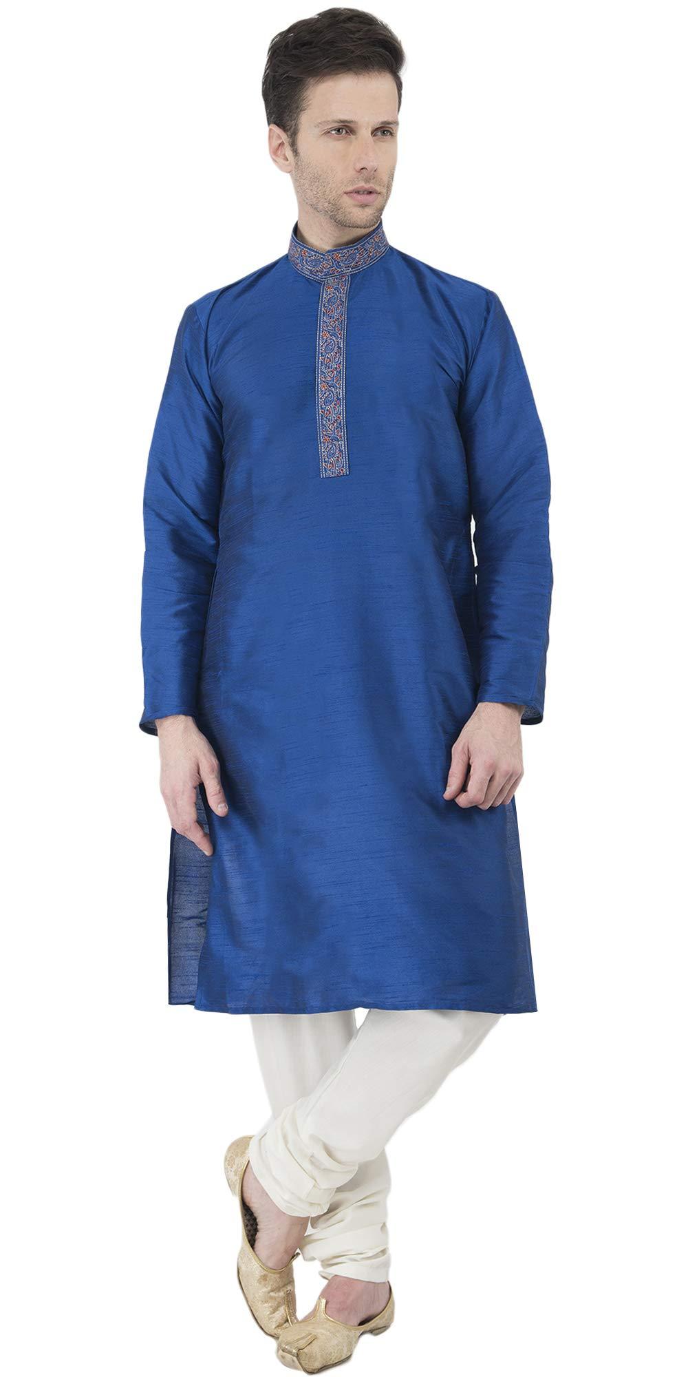 Indian Long Sleeve Kurta Pajama Dress Men Salwar Kameez Party and Wedding Wear -XL