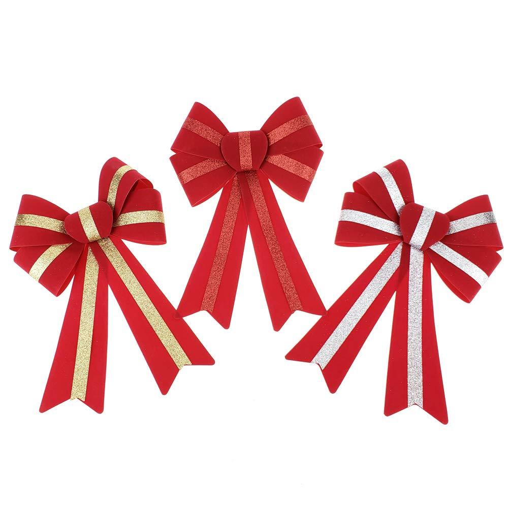 Homeford 5 Loop Flocked Gold Glitter Bows, 13-Inch, 3-Piece