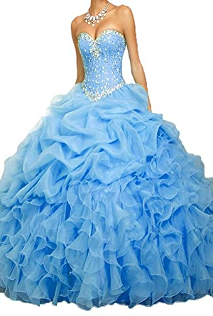 3d2586880e9 PromQueen Women s Beaded Ball Gown Sweet 16 Dresses Princess ...