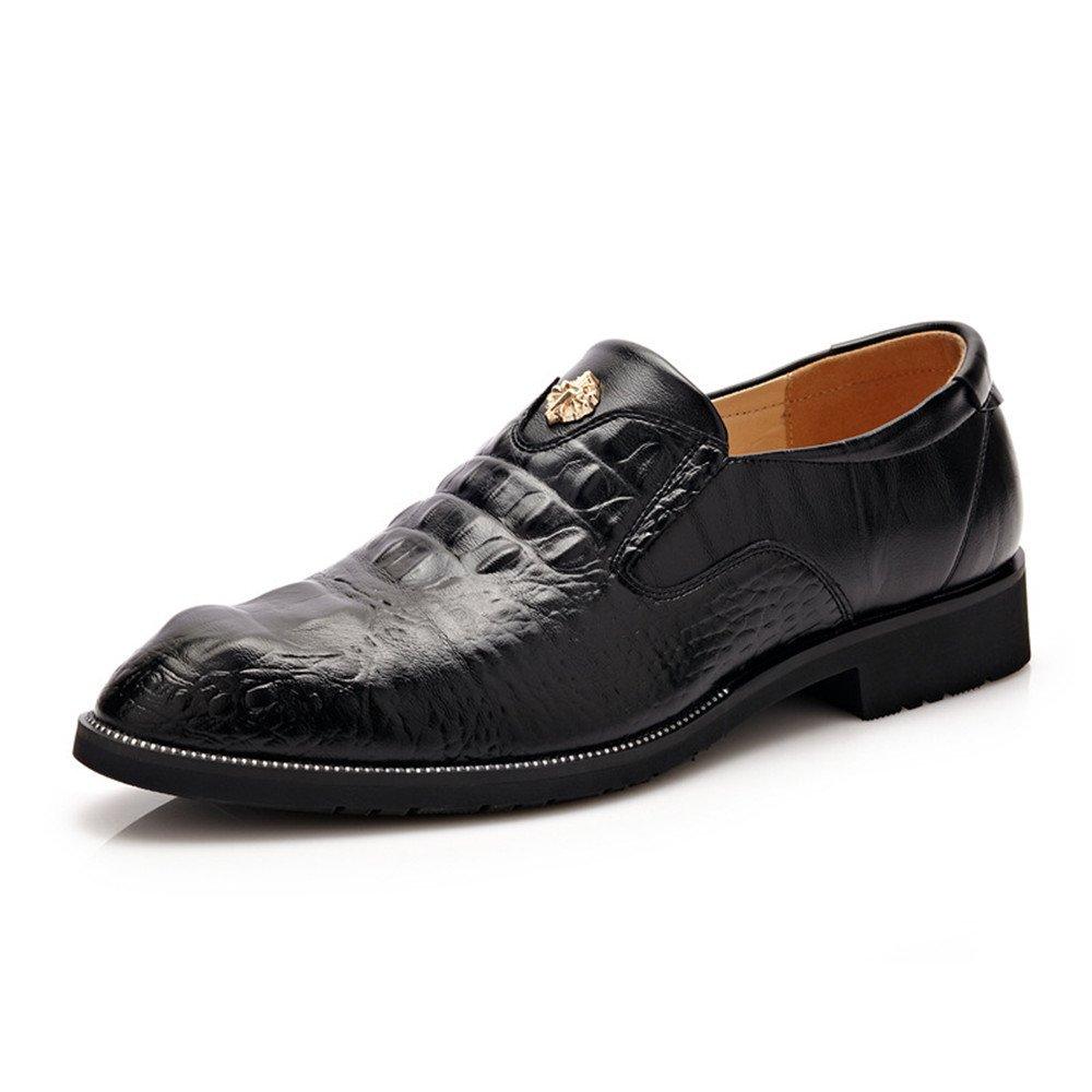Battle Men Men's Dress Shoes Breathable Leather Crocodile Skin Texture Business Loafers for Gentleman Fashion (Color : Black, Size : 10 MUS)